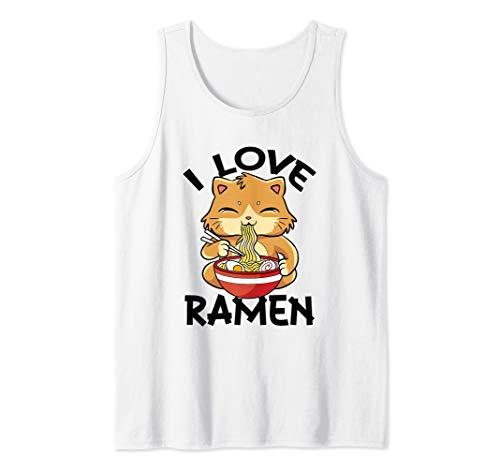 I Love Ramen Nudeln Katze Japanisch Anime Manga Cat Tank Top