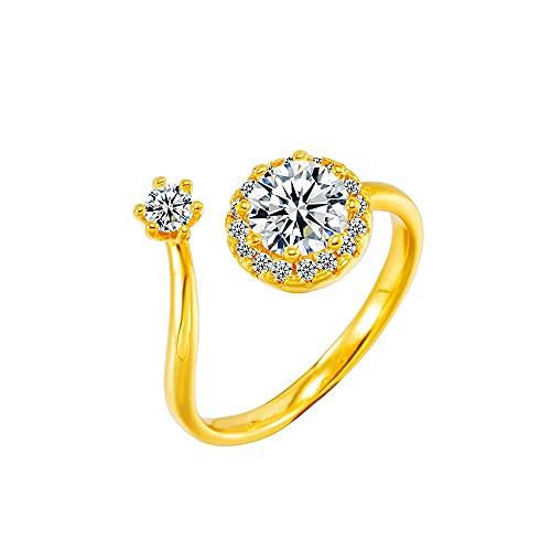 Anillo abierto de diamantes de imitación natural de oro de 24 k con micro pavimentado, joyería de boda para mujer, anillo de dedo elegante con piedra brillante cuadrada CZ