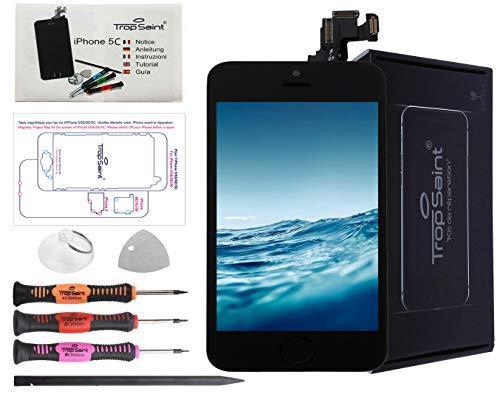 Trop Saint Vetro Schermo Nero per iPhone 5C Ricambio Completo LCD Display - Kit di Riparazione con Istruzioni e Attrezzi