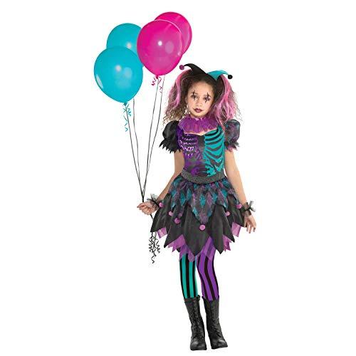 Amscan 9904757 - Kinderkostüm Haunted Harlequin, Kleid, Manschetten, Stirnband, Strumpfhose, Clown, Spaßmacher, Mottoparty, Karneval, Halloween