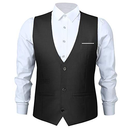 Chaleco de traje para hombre, cuello en V, sin mangas, corte ajustado, chaleco con 3 botones, para boda, negocios, retro, chaleco Negro  XXL