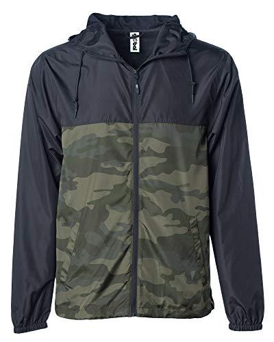 Global Blank Men's Lightweight Windbreaker Winter Jacket Water Resistant Shell Black/Camo
