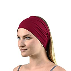 Material: 95% Bamboo, 5% Spandex Suitable for softball, volleyball, basketball, yoga, cheer and other sports teams Elastic material, fits different head sizes easily - Extremely soft, comfy and featherweight to ensure comfortability. One size fits al...