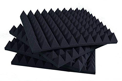 Pannelli Fonoassorbenti Piramidali Correzione Acustica 100x100x6 D30 Grigio Antracite Pacco Da 5