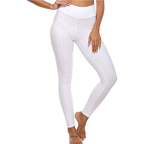 Hiser Pantalones de Yoga para Mujer, Respirable Yoga Push up Leggins Deporte de Correr Levantamiento de Cadera Leggings Pantalones Largos (Blanco,S)