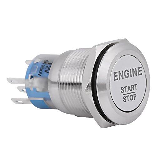 12V DC LED Motor de automóvil Arranque Parada Botón pulsador Interruptor Arrancador de encendido Universal Metal Press LED Interruptor botón pulsador Blanco (Plata)