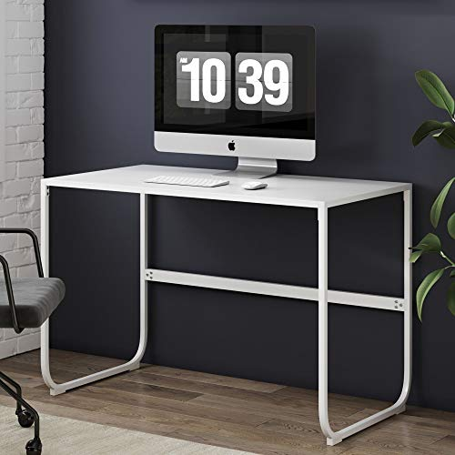 Nathan James Penny Writing Desk with Sleek Curved Metal Frame for Home or Office, White