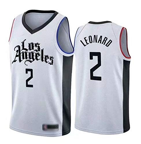 CCL NBA Basketball Maglia Clippers # 2 Leonard Traspirante Senza Maniche Sport Fitness T-Shirt Gli Appassionati di Basket Canotta Maglie,Bianca,M(175CM/65~75Kg)