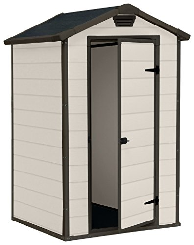 Keter Manor Outdoor Plastic Garden Storage Shed, Beige, 4 x 3 ft