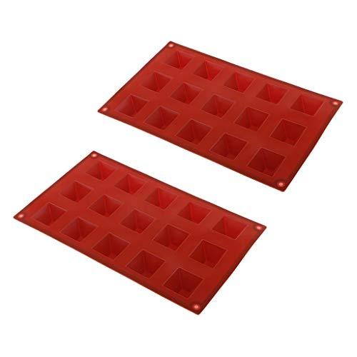 Fenteer Molde de Silicona para Pastel de 2 Piezas, Molde para Decoración de Chocolate Y Fondant, Bandeja de Molde para Hornear Piramidal de 15 Rejillas para J