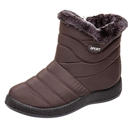 WUSIKY Bootsschuhe Damen Stiefeletten Boots Damen Schneeschuhe Winter Ankle Short Bootie wasserdichte Schuhe Warme Schuhe (Braun, 35 EU)