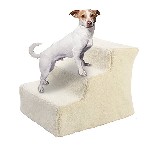 JUEYAN Easy Step Hundetreppe Beige Haustiertreppe Hunde Treppe Pet Walk Treppe Einstiegshilfe Plüschbezug