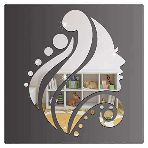 HONGBI Multifunktion Sonnenblumen Spiegel Wandaufkleber Aufkleber Haus Dekoration für Flug,Küche,Badzimmer,Wohnzimmer usw,Silber,(28 * 35CM)