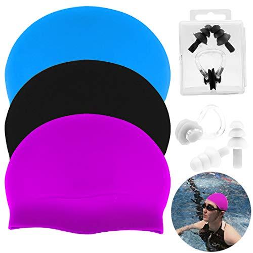 JJQHYC 3 PCS Cuffia da Nuoto in Silicone per Capelli Lunghi da Donna includere 2 Morbidi Tappi per Le Orecchie da Nuoto e Clip per Il Naso