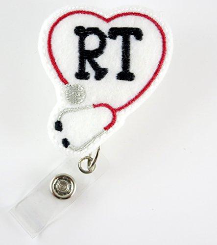 RT Heart Stethoscope Red - Nurse Badge Reel - Retractable ID Badge Holder - Nurse Badge - Badge Clip - Badge Reels - Pediatric - RN - Name Badge Holder