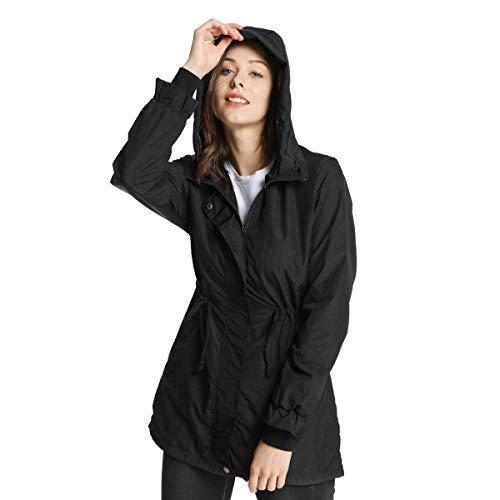 iLoveSIA Women's Military Anorak Jacket with Hood Drawstring for Autumn Black US 8