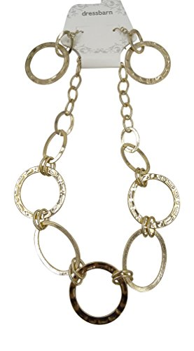 New Shiny Gold Tone Link Necklace & Earring Set by Dressbarn
