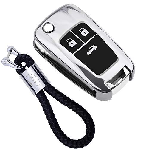Autoschlüssel Hülle für Opel Chevrolet – Cover TPU Silikon Hochglanz Schutzhülle Schlüsselhülle für Fernbedienung 3 Tasten Chevrolet Aveo Opel Corsa Zafira Mokka Schlüsselbund (Silber)