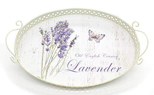 DARO DEKO Metall Tablett - 42cm x 28cm Lavendel und Schmetterling 1 Stück