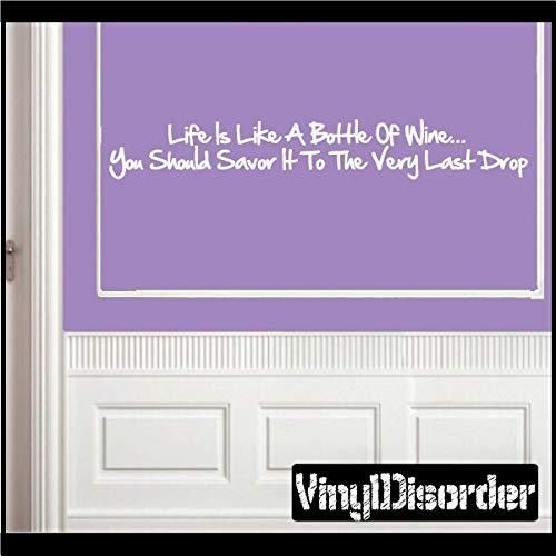 Het leven is als een fles wijn - je moet het naar de allerlaatste druppel halen - Vinyl muursticker - muurcitaten - Vinyl Sticker - Kitchenquotes19ET Eenvoudig aan te brengen en verwijderbaar