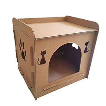 Tinaa Lit De Chat en Carton Ondulé Intérieur Maison De Chat Jouet Griffes Mill pour Chat-Forme De Maison