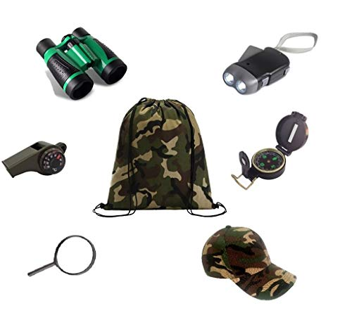 Kids Backyard Outdoor Exploration kit ( 7 Pieces ) Military Style Adventure Explorer, Kid Survival Kits, Camping Gear,Hiking, Preschool Educational Toys, for Boys and Girls,Summer Camp