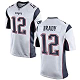 JNAX Patriots Brady 12# Maillot de Rugby pour Homme T-Shirts Sweatshirt, Occasions applicables Hommes-Athlète, entraînement de compétition en Plein air Daily Best Gift Fibre de Polyester à séchage ra