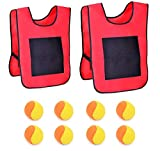 kitchen-dream 2 Chalecos de Tiro con 8 Bolas de algodón Juego de Objetivo de Lanzamiento Juego de Chaleco de Velcro con Bola de Tiro (Rojo)