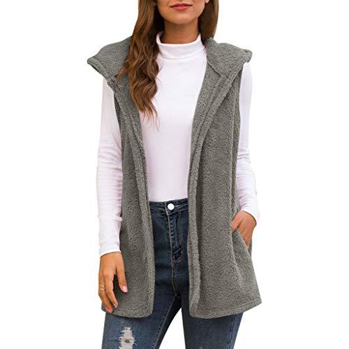 AMUSTER Damen Fleece Weste Frauen Kunstpelz Strickjacke Mit Kapuze Flauschige Vintage Shaggy Weste Jacke Einfarbige ärmellose Mantel mit Tasche