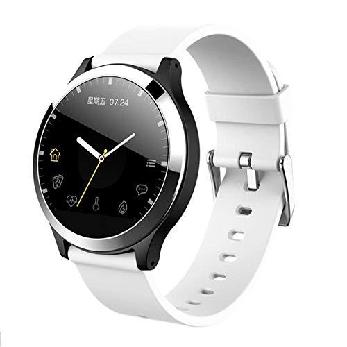 Yumanluo Smartwatch,Medición de la frecuencia cardíaca de la presión Arterial, Pulsera de Salud con Pantalla a Color-Blanco,Reloj Inteligente con Pulsómetro