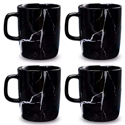 Coffeezone Matte Keramik Marmor Tee Kaffee Tassen mit Holz Untertassen Luxus Gold Inlay Geschirr 4 Mugs Normal Marble schwarz
