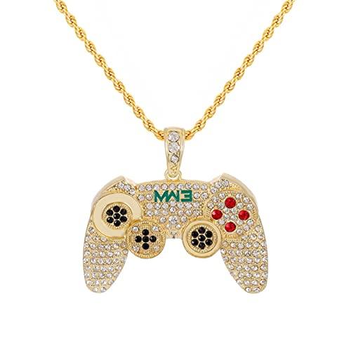 CHENLING Hip Hop - Collar con colgante de mando de juego para mujeres y hombres, color dorado con cristales de diamantes de imitación