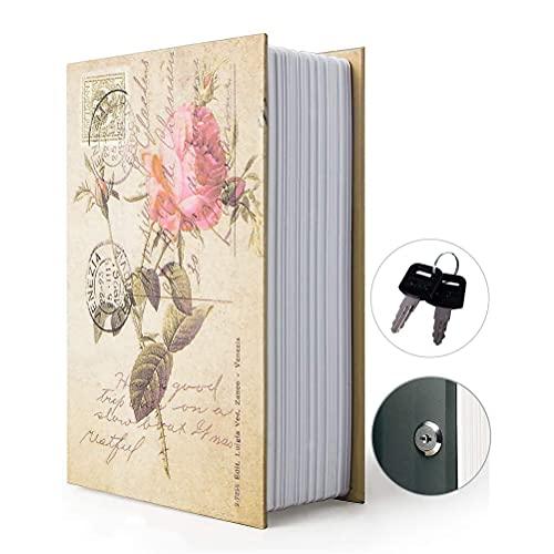 Caja de almacenamiento para libros de desvío, caja fuerte con cerradura de combinación de seguridad, libro de desviación oculto (combinación, rosa)