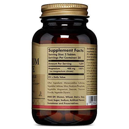 Solgar Magnesium Citrate, 60 Tablets - Promotes Healthy Bones, Supports Nerve & Muscle Function - Highly Absorbable - Non-GMO, Vegan, Gluten Free, Dairy Free, Kosher - 30 Servings