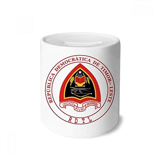 DIYthinker Dili Osttimor National Emblem-Geld-Kasten Sparkassen Keramik Münzfach Kinder Erwachsene 3.5 Zoll in Height, 3.1 Zoll in Duruchmesser Mehrfarbig