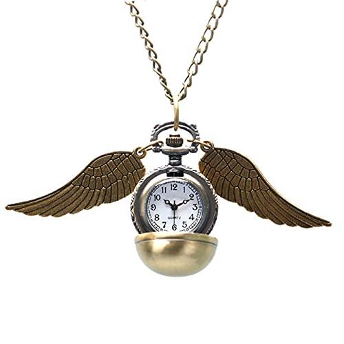 Reloj de Bolsillo Elegante Reloj Dorado Reloj de Bolsillo Alicia en el país de Las Maravillas Collar Cadena Reloj Colgante