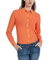 Havana Breeze Women's 100% Silk Long Sleeve Translucent Blouse, Orange S
