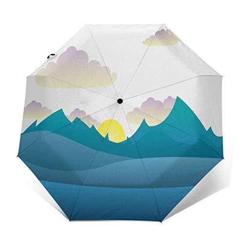 TISAGUER Paraguas automático de Apertura/Cierre,Silueta de Paisaje de Naturaleza Hermosa,montañas Azules y llanuras,Nubes Blancas y Sol,Paraguas pequeño Plegable a Prueba de Viento
