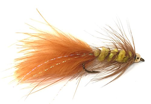 Wooly Bugger Fly Fishing Flies for Trout and Other Freshwater Fish - One Dozen Wet Flies in Various Patterns - (12, Brown/Yellow)