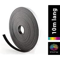 OfficeTree Cinta Magnetica Adhesiva 10 m - Tira de Iman para la imantación Fija de Carteles, Fotos, Papeles - Adherencia Extra Fuerte sobre Pizarra Blanca, Pizarra Magnética - Negro