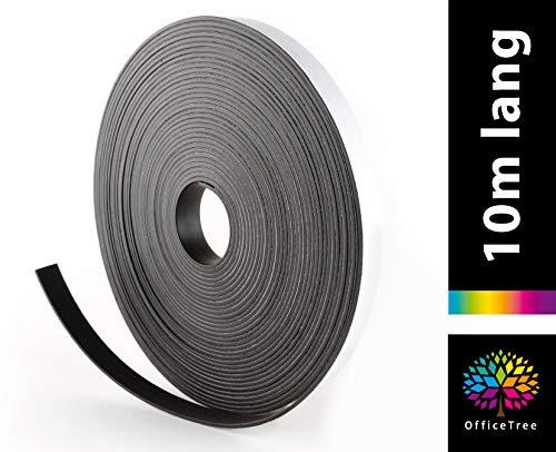 OfficeTree Nastro Magnetico Adesivo 10 m - Striscia Magnetica - Adesivo e Adatto per Poster, Foto e Fogli - Tenuta Ottimale su Lavagne Magnetiche e Bacheche - Nero