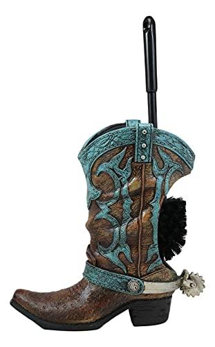 Rustic Vintage Western Turquoise Cowboy Boot Spur Toilet Bowl Brush & Holder Set Toilet Brushes for Bathroom Best Toilet Brush Household Items Bathroom Cleaning Supplies Toilet Bowl Brush and Holder