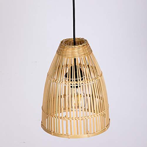 Pointhx Lámpara de techo E27 con 1 luz, hecha a mano, tiras de bambú, decoración para colgar escaleras, cafeterías, cocinas, islas