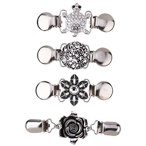 IEFIEL 3 Piezas Clips de Suter clip para cuello de crdigan para Mujeres Nias Disfraz Accesorio con cuentas, perlas elegantes Vintage Plata C OneSize