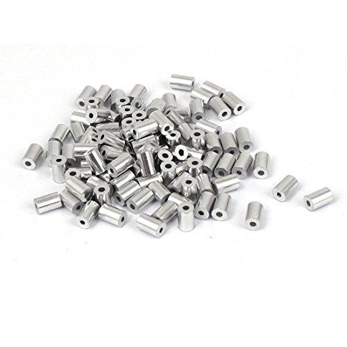 sourcing map 100 Stück 1mm Loch Stahldraht Seil Aluminiumhülsen Ärmel Silber DE de