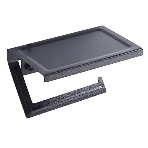 Portarrollos de Papel higiénico con Estante para teléfono Celular, dispensador de Papel tisú montado en la Pared, instalación de Adhesivo y Tornillos, 7.09 'x4.72, Negro