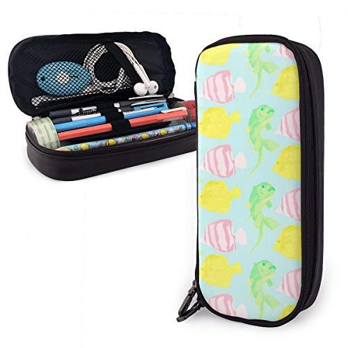 OUYouDeFangA bolsa de almacenamiento de piel sintética para acuarela y peces, portátil, para estudiantes, lápices, oficina, papelería, bolsa, carteras con cremallera, bolsa multifunción para maquillaje