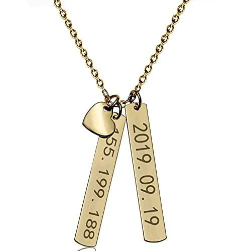 Collar De Barra Personalizado Collar De Corazón Tallado De Acero Inoxidable Exquisita Joyería Personalizada Femenina Regalo De San Valentín