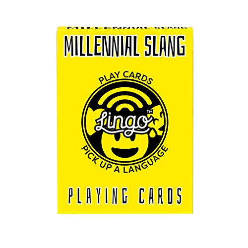 Lingo Slang Playing Cards | Language Learning Game Set | Fun Visual Flashcard Deck to Increase Vocabulary and Pronunciation Skills (Millennial Slang)