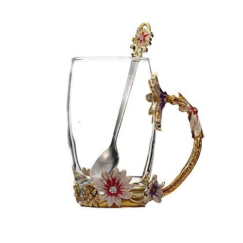 Flower Tea Cup, 400ml Emaille Geschenk Flower Tea Cup, praktische kreative Geschenk transparentem Glas dreidimensionalen Rosenmuster Tasse